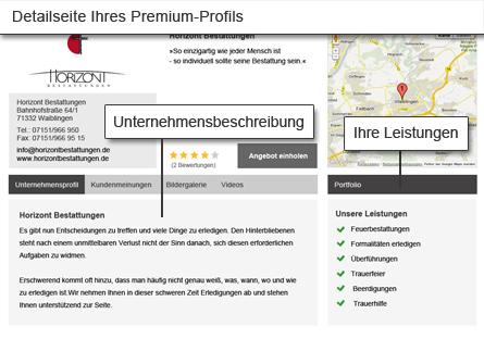 Die Detailseite im Premium-Profil stellt Ihre Leistungen ausführlich dar