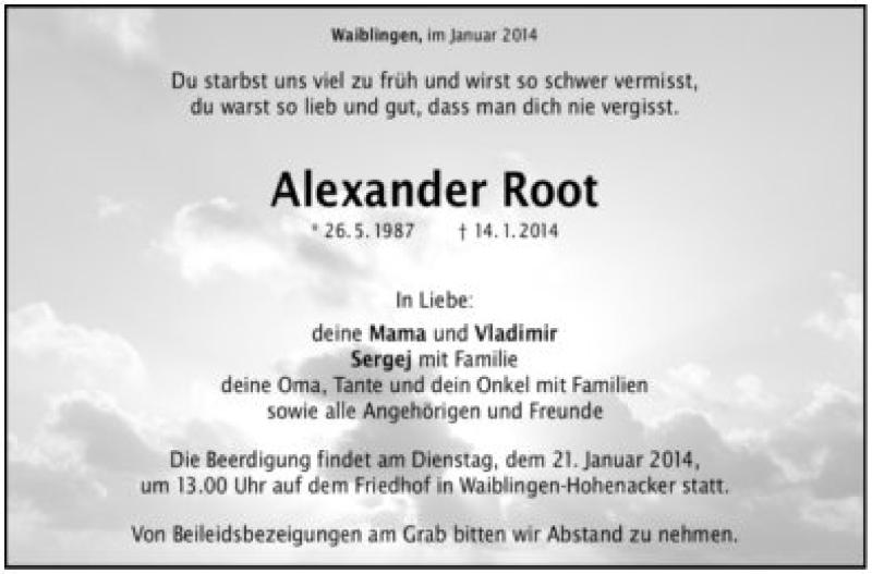 Todesanzeige von  Alexander Root