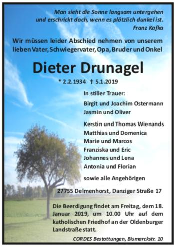 Traueranzeige für Dieter Drunagel vom 12.01.2019 aus trauer.de