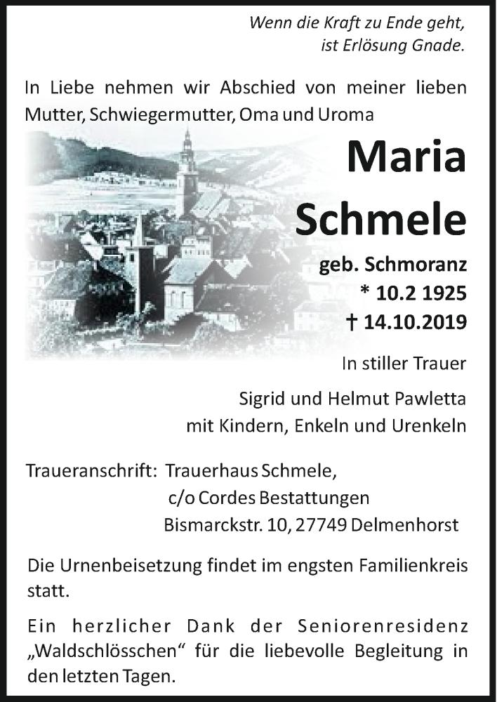 Todesanzeige von  Maria Schmele