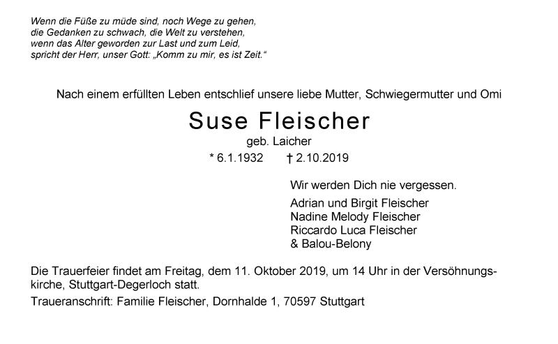Todesanzeige von  Suse Fleischer