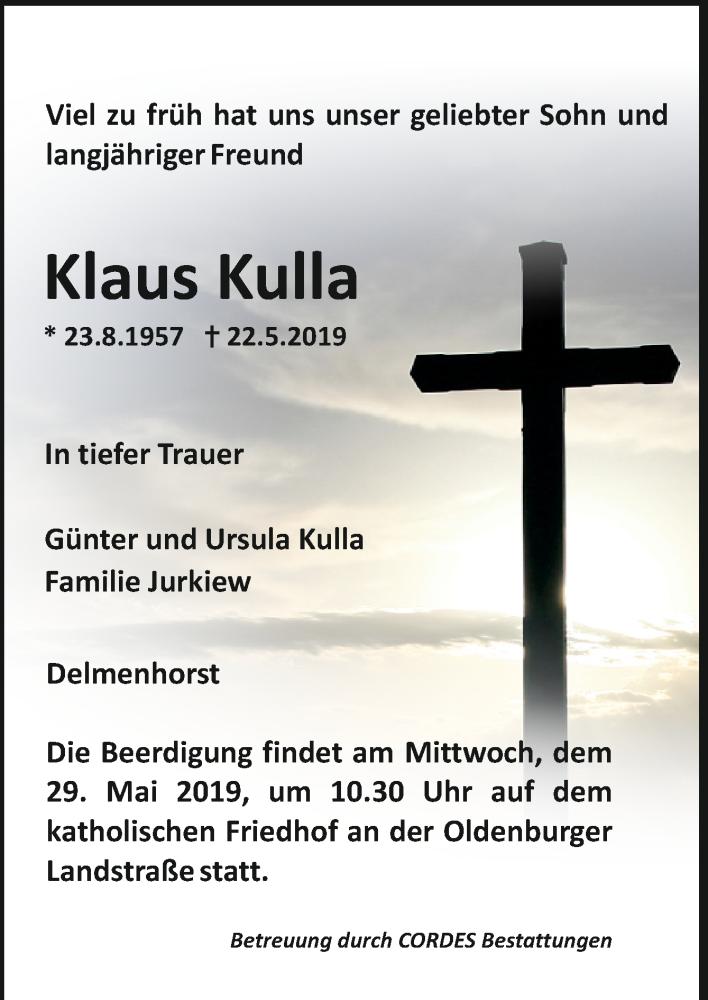 Todesanzeige von  Klaus Kulla
