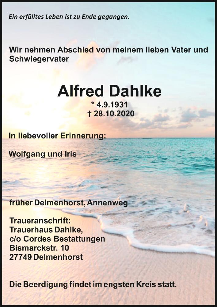 Todesanzeige von  Alfred Dahlke