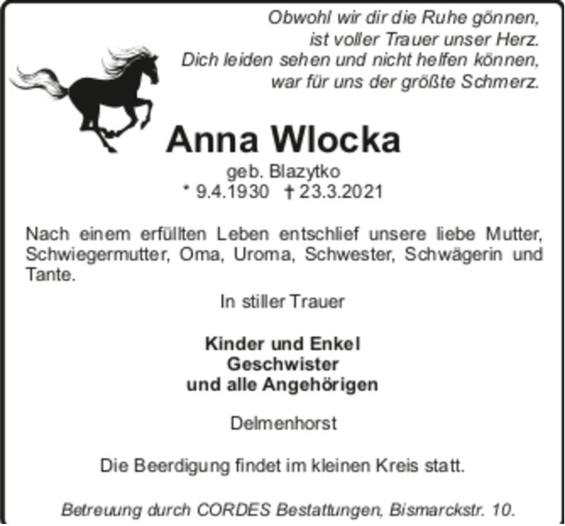 Todesanzeige von  Anna Wlocka